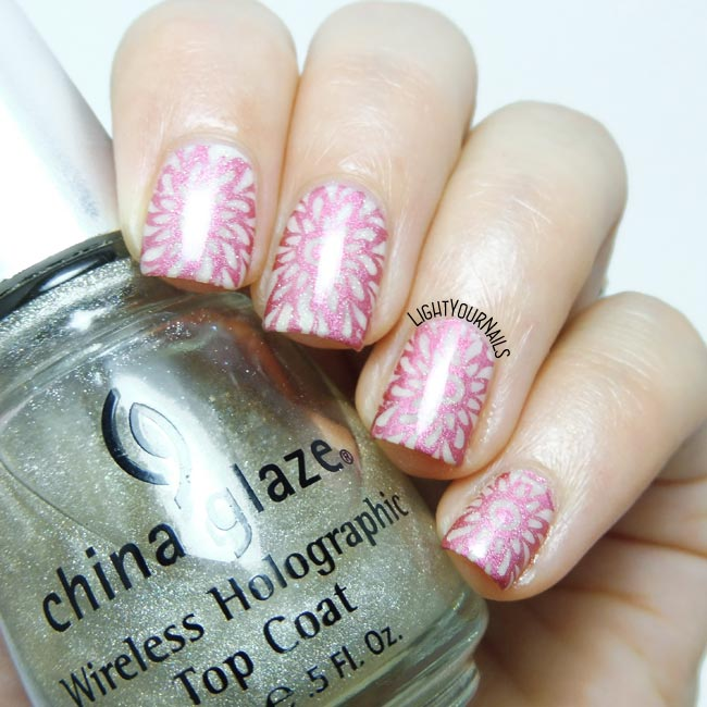 Pink mandala stamping nail art