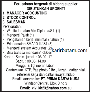 Lowongan Kerja PT. Prima Karya Nusa