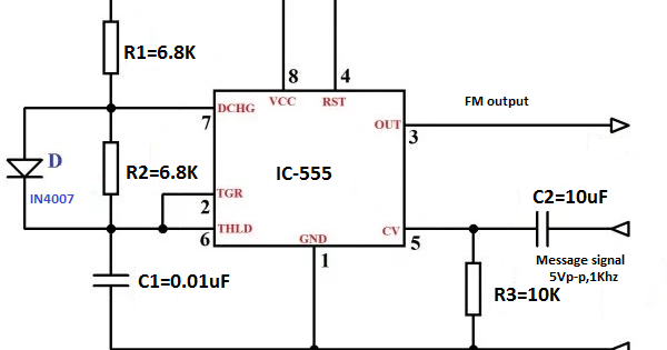 fm modulation using 555 ic