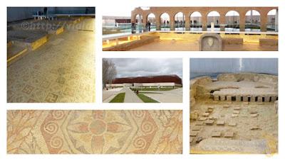 Villa Romana La Olmeda - detalles de los mosaicos y de la fachada exterior