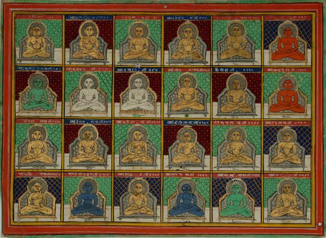Adinatha, Ajita, Sambhava, Abhinandana, Sumati, Padmaprabha, Suparshva, Chandraprabha, Suvidhi, Shital, Shreyansa, Vasupujya, Vimala, Ananta, Dharma, Shanti, Kunthu, Ara, Malli, Muni Suvrata, Nami, Nemi, Parshva and Mahavira.  Jain sects