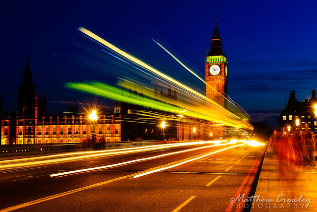 Time Flies By - Big Ben and the motion trails of a double-decker bus