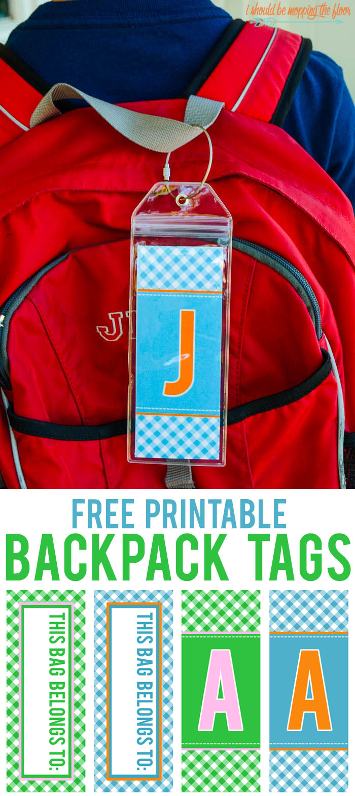 Free Printable Backpack Tags | Available in A-Z with personalization space for kids' names.