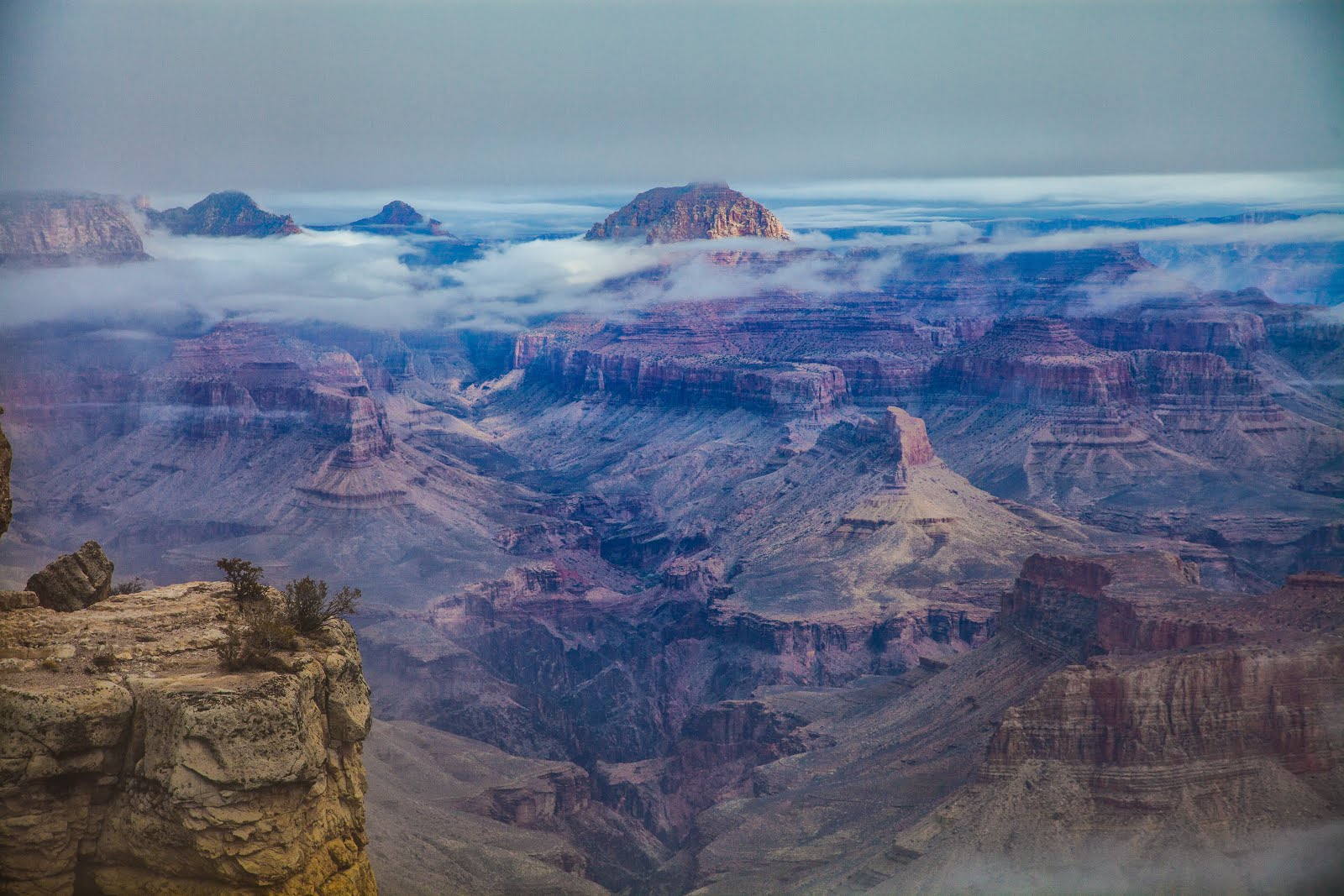 Walking Arizona Layers Of Clouds In The Grand Canyon