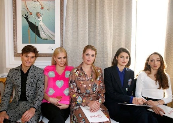 Pixie Lott, Oliver Cheshire, Lady Kitty Spencer and Daisy Bevan at Schiaparelli Haute Couture SS17 show in Paris