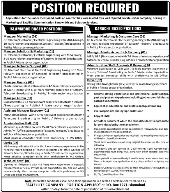 Public Sector Organization Announced Jobs in Islamabad