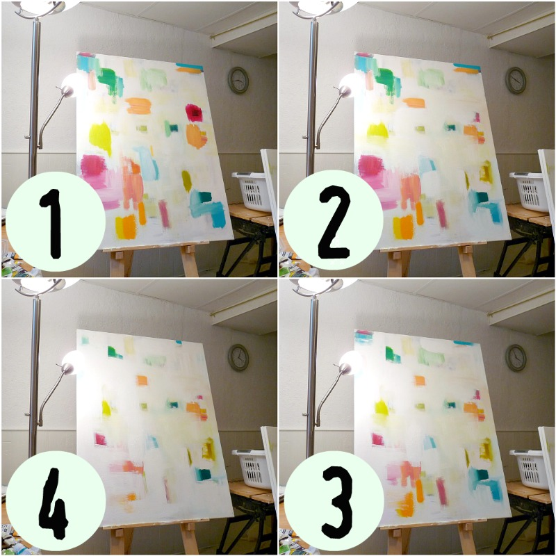 How to paint a colorful abstract - step by step photos