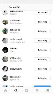 Follow beberapa pengikutnya