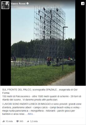 scenografia spaziale ed esagerata per il concerto record di Vasco Rossi - post fb