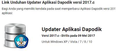 Rilis Update Dapodikdas Versi 2017.c