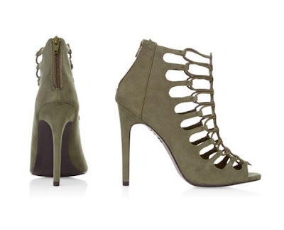 New Look Khaki Suede Caged High Heels