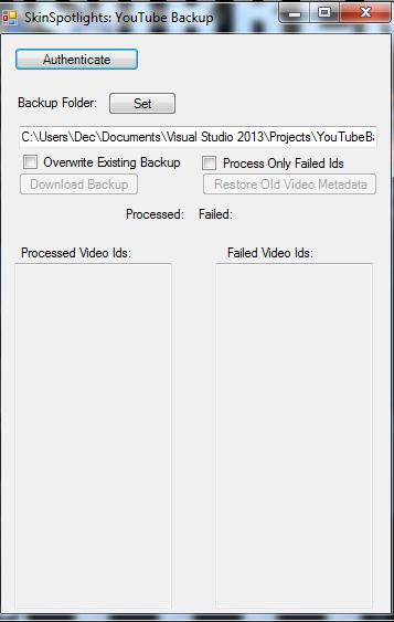 SkinSpotlights: YouTube Backup