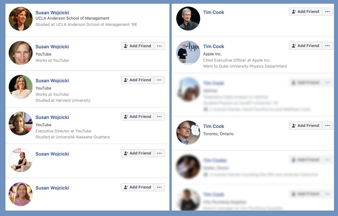 Facebook still unable to control fake accounts claiming to be tech execs like Tim Cook, Susan Wojcicki and more