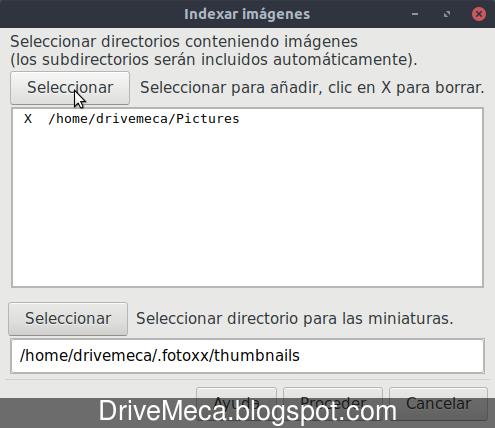 Fotoxx muestra ventana de seleccion de carpeta de imagenes