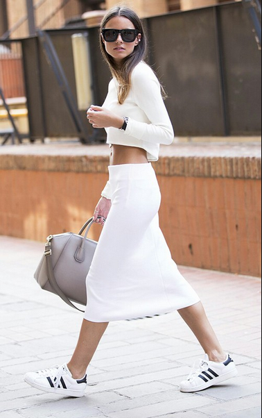 sneakers with white skirt