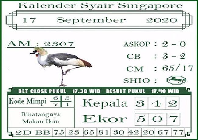 Kode syair Singapore Kamis 17 September 2020 199
