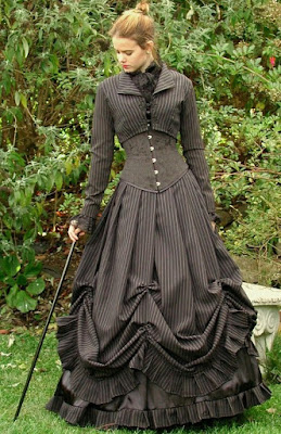 The Victorian era bell skirt is a dress shape that is worn in modern steampunk fashion.