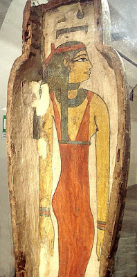 Nuit/Nut depicted in a sarcophagus