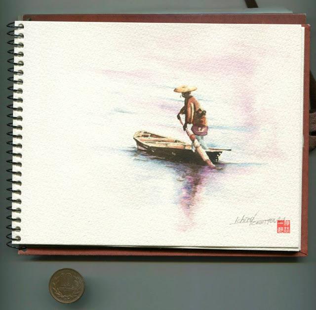 水彩画。透明、江戸、日本、風景、川、舟、和船、船頭、時代劇、手描き、絵の具、挿絵、イラスト、絵、資料,イラストレーター検索、イラストレーター一覧、イラスト制作、和風イラスト