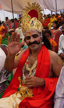 Dressing up as King Mahabali for Onam