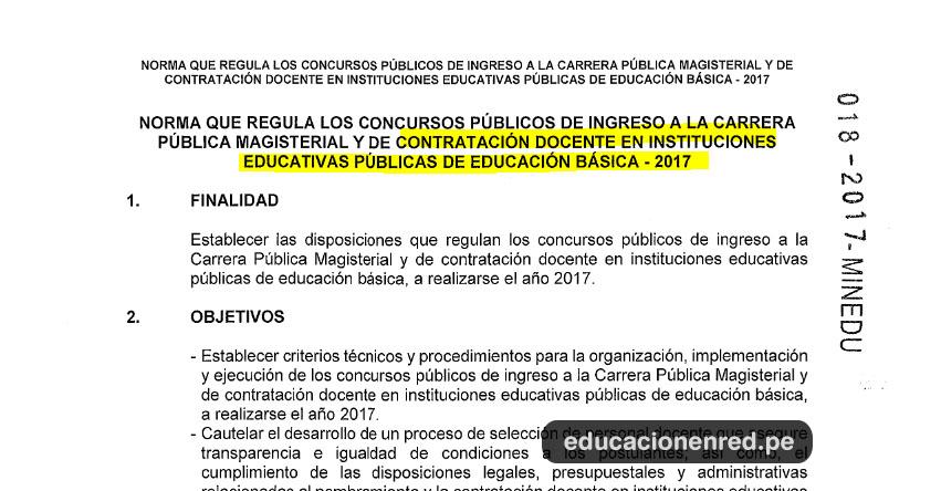 DIRECTIVA CONTRATO DOCENTE: Norma que regula el Concurso Publico año escolar 2018-2019 (R. S. G. Nº 018-2017-MINEDU)