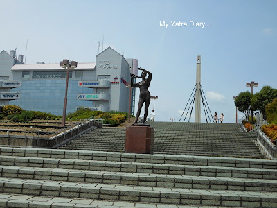 A statue at the entrance of Nara station in Japan