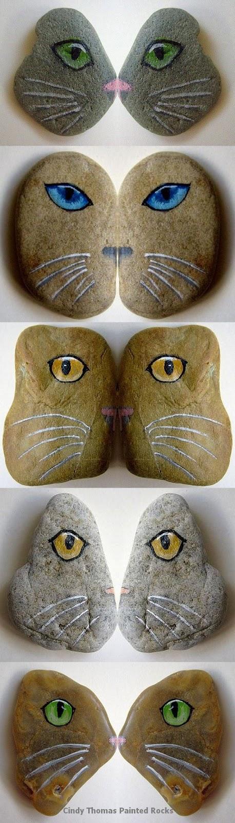 painted rocks, cats, kitties, stones, rock painting, Cindy Thomas