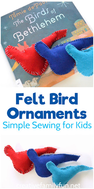 Sew simple Felt Bird Ornaments inspired by the book, The Birds of Bethlehem. It's a simple sewing project for kids.
