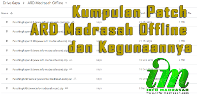 Kumpulan Patch ARD Madrasah Offline dan Kegunaannya - Aplikasi Rapor Digital Madrasah atau yang biasa operator madrasah singkat menjadi ARD Madrasah merupakan salah satu aplikasi terbaru dari pihak kemenag untuk pengganti rapor yang biasa digunakan oleh tiap madrasah di seluruh Indonesia ini, aplikasi ARD Madrasah sendiri ini wajib untuk seluruh jenjang, dari mulai RA, MI, MTs, dan MA. Namun semenjak pertama kali diluncurkan, Aplikasi Rapor Digital Madrasah ini belum fix atau bisa dikatakan Aplikasi belum layak pakai, Kenapa? Karena masih banyak sekali beberapa permasalahan yang muncul dari ARD Madrasah ini. Baik itu yang bersifat Online maupun yang bersifat Offline.          Pertama kali ARD Madrasah diluncurkan dalam basis online, namun hal ini banyak kendala, dikarenakan banyak sekali madrasah yang susah untuk login. Bahkan madrasah yang sudah login juga masih menemukan beberapa masalah dalam pengisian ARD Madrasah Online tersebut atau masih ada banyak bug atau error pada aplikasinya.    Setelah diluncurkannya ARD Madrasah Online, akhirnya dilakukan Maintance pada ARD Madrasah Online tersebut, lumayan cukup lama sekitar 1 minggu pihak ARD Madrasah pusat melakukan maintance. Selang beberapa hari, akhirnya pihak ARD Madrasah pusat membuka lagi web http://sikurma.kemenag.go.id/ard/, namun ternyata pihak ARD Madrasah pusat membuat ARD Madrasah Offline yang bisa anda download disana atau bisa didownload pada postingan kami sebelumnya Aplikasi Rapor Digital Madrasah Offline (TERBARU), Dan ternyata ARD Madrasah Offline juga masih memliki beberapa masalah. Akibat dari masalah-masalah yang timbul dari ard madrasah offline, akhirnya pihak ARD Madrasah Pusat mengeluarkan beberapa Patch atau bisa kita katakan file tambahan untuk memperbaiki masalah-masalah yang terdapat pada ARD Madrasah Offline.     Nah, agar para operator madrasah yang merasa kebingungan dalam hal Patch ARD Madrasah Offline, anda bisa melihatnya kumpulan patch ard madrasah offline di bawah ini, anda bisa m