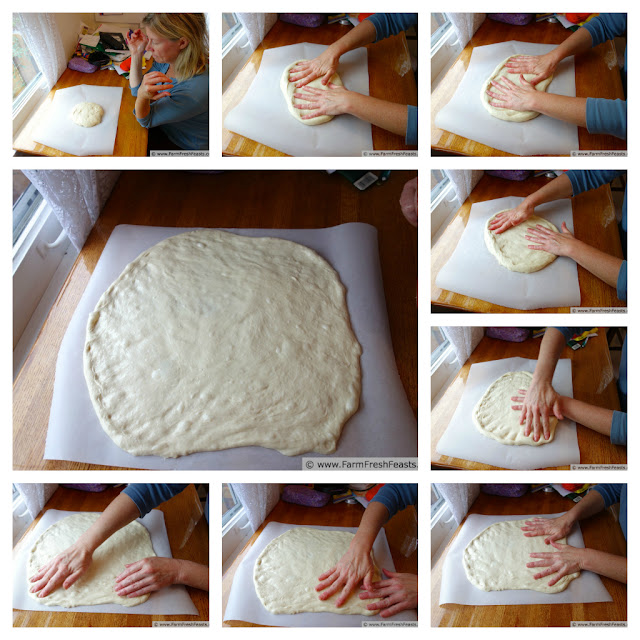 collage image of how to press a ball of pizza dough out into a circle ready to be topped.