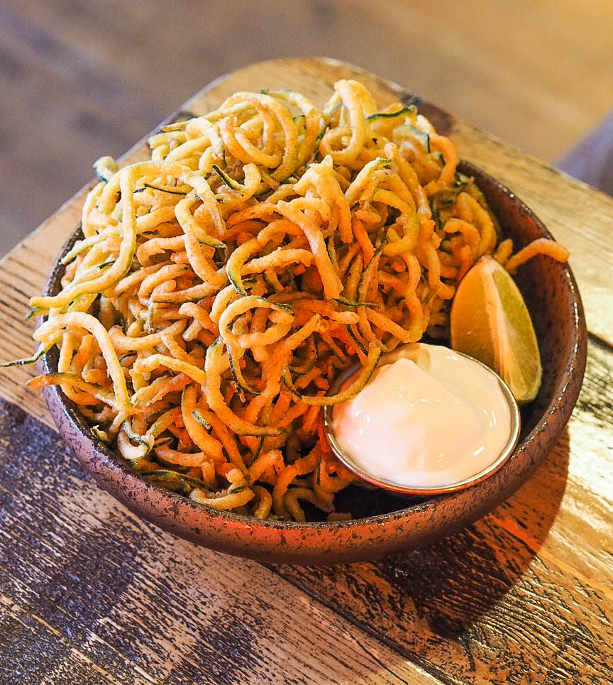 Deep fried courgetti with lime and yoghurt