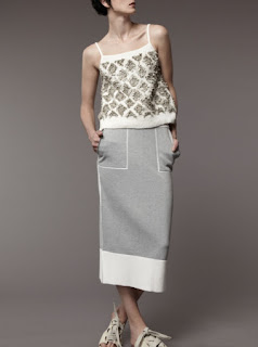 2017 Cruise Collection M.Patmos heather grey sweatshirt skirt and beaded tank top with thin straps