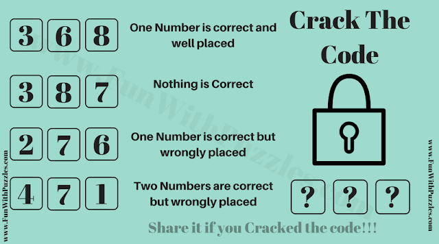 In this Crack the Code Puzzle, your challenge is to find the 3 digit code from the given clues which will open the lock.