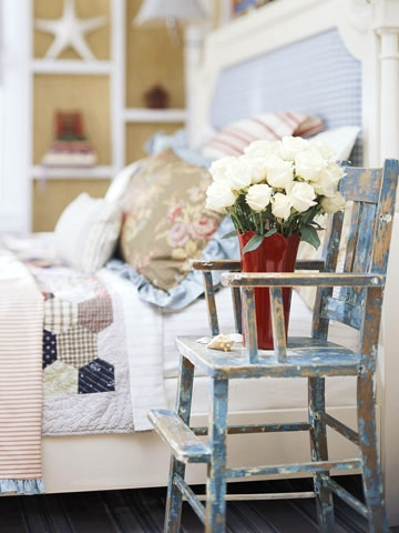 distressed sea blue chair