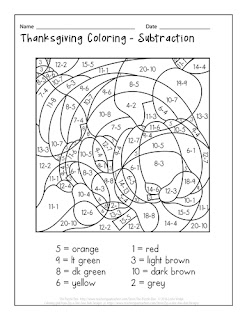 Thanksgiving Coloring - Subtraction