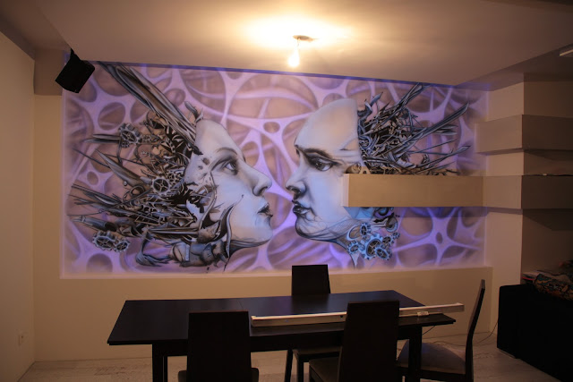 Mural 3D, malowidło ścienne UV namalowane na ścianie, obraz świecący w ciemności, Toruń