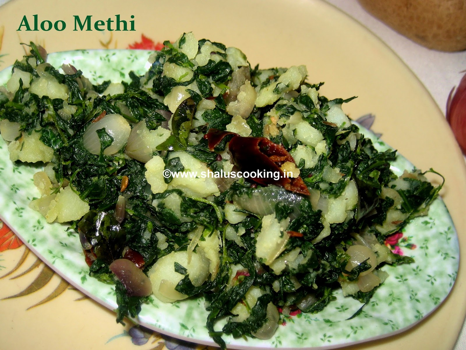 Shalu's Cooking: Aloo Methi - Fenugreek Leaves with Potato