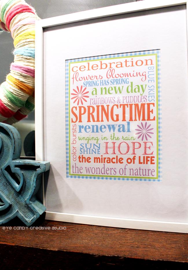 spring subway art, hope, bright colors, spring framed art, spring art freebie