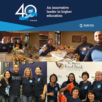 40th Anniverary header logo with text: An innovative leader in higher education.  Collage of photos featuring Rio Salado employees at volunteer events.