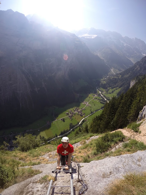 Via Ferrata, Klettersteig, Hike, Climbing, Scrambling, mountaineer, mountain, extreme, adrenaline, adventure, Explore, Murren, Gimmelwald, Lauterbrunnen, Interlaken, Switzerland, Bern, Swiss Alps, Bernese Alps, Alpine, hanging, Nepalese Bridge, tyrolean, cliff, BASE, ladders,