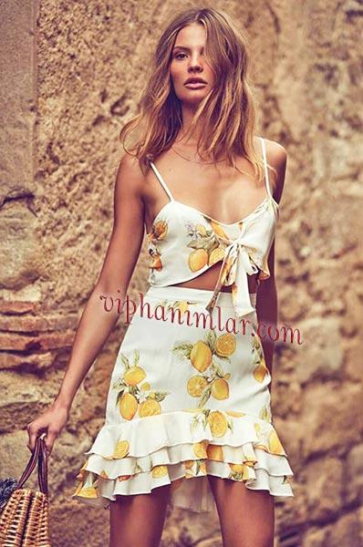 Limon baskılı yaz elbisesi- www.viphanimlar.com