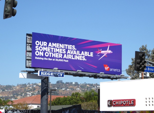 amenities sometimes available other airlines Virgin America billboard