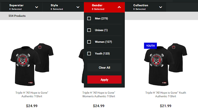 Gender Divide Wrestling T-Shirt Amounts