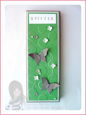 Stampin' Up! rosa Mädchen Kulmbach: Notizblöcke als Swap fürs Teamtreffen mit Schmetterling, Itty Bitty Flower und großen Punkten