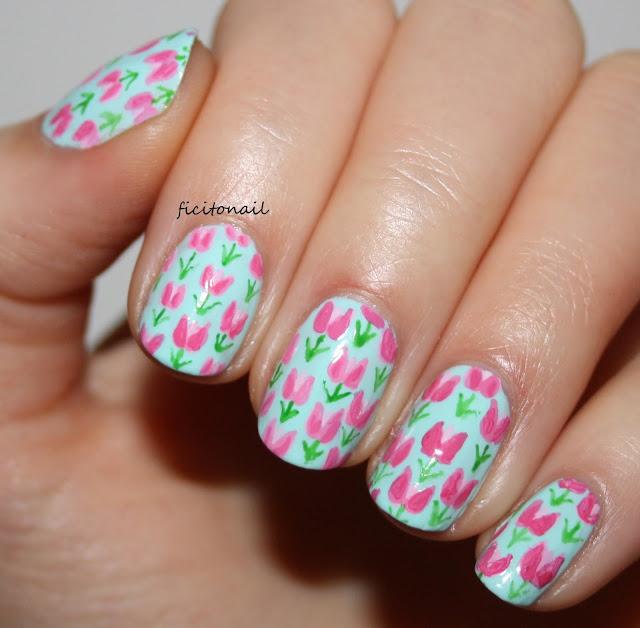 Spring Tulip Pattern Nail Art