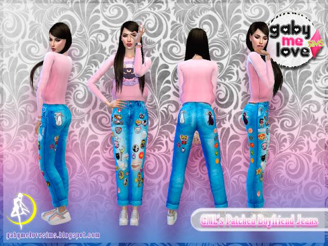 [Gabymelove Sims] GML's Patched Boyfriend Jeans, Estilo 3, Sailor Moon.