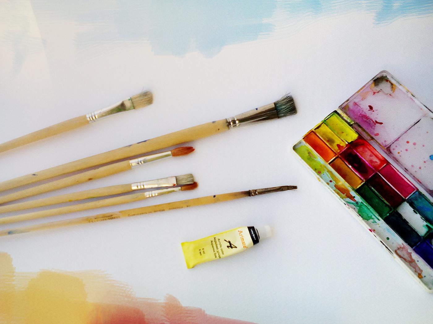 Νερομπογιές και πινέλα για ζωγραφική painting photography