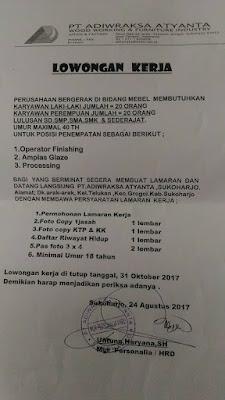 Lowongan Kerja Solo PT Adiwraksa Atyanta