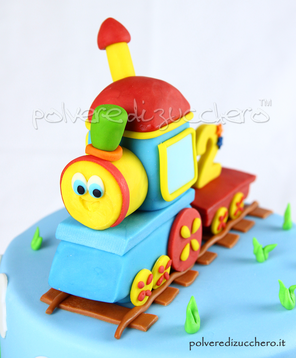 polvere di zucchero cake design fondente pasta di zucchero trenino bob compleanno bimbo sugar paste bob the train birthday boy bob train cake