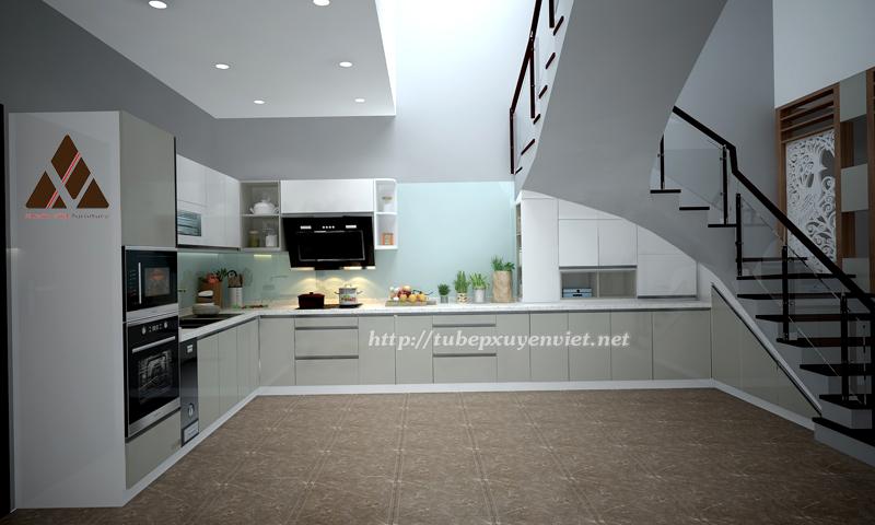 Mẫu Tủ bếp đẹp làm bằng nhựa pvc kiểu hiện đại